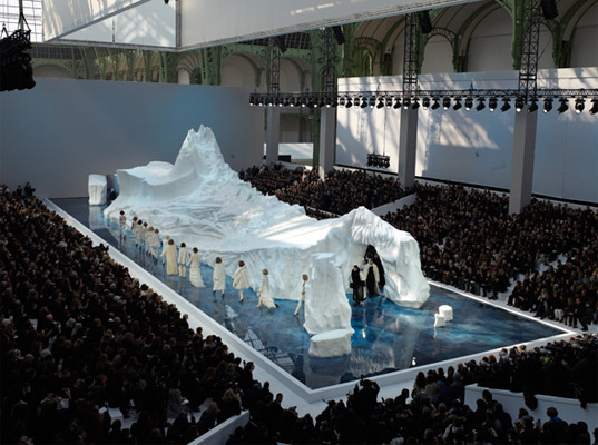 Chanel Fall/Winter 2010 Show at Paris Fashion Week, icebergs, global warming, faux fur